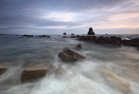 Rocks at Mupe Bay at sunset, Dorset Stock Photo - 17605071