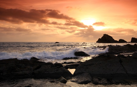 Rocks at Mupe Bay at sunset, Dorset Stock Photo - 17605091