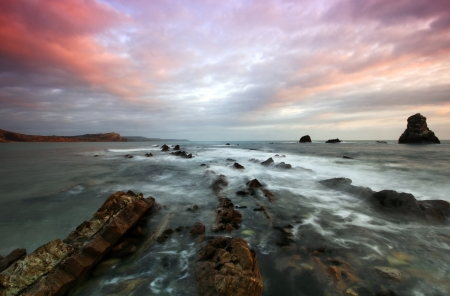 Rocks at Mupe Bay at sunset, Dorset Stock Photo - 17605089