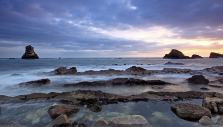 Rocks at Mupe Bay at sunset, Dorset Stock Photo - 17605074