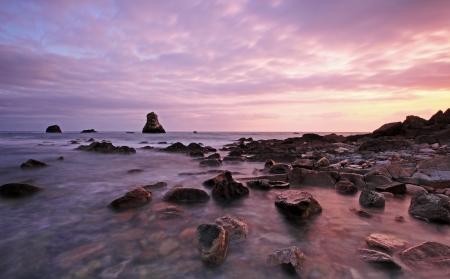 Rocks at Mupe Bay at sunset, Dorset Stock Photo - 17605084