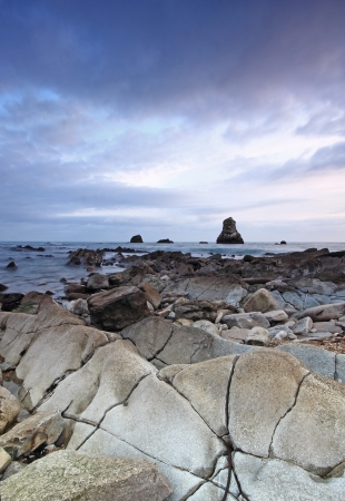 Rocks at Mupe Bay at sunset, Dorset Stock Photo - 17605094
