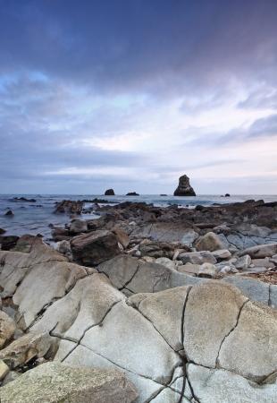 Rocks at Mupe Bay at sunset, Dorset Stock Photo - 17605094