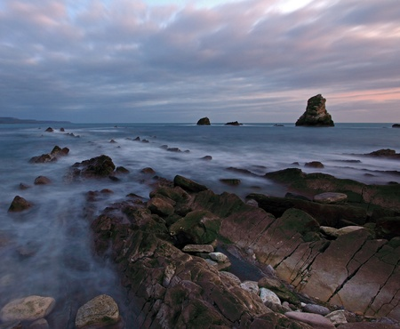 Rocks at Mupe Bay at sunset, Dorset Stock Photo - 17605076