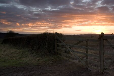 Sunset across the rolling hills of devon photo