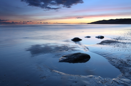 lyme: Charmouth beach at sunset looking toward lyme regis
