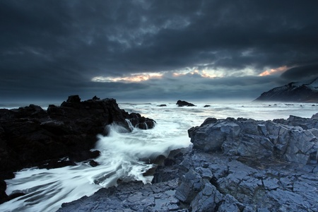 twilight arctic coast in the east fjords in iceland