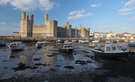 Medievil Caernarfon castle & estuary in north Wales
