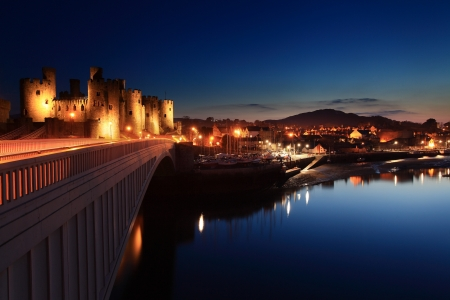 Conwy castle at dusk in north Wales UK