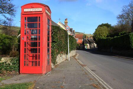 phonebox: traditional red british phone box in rural dorset