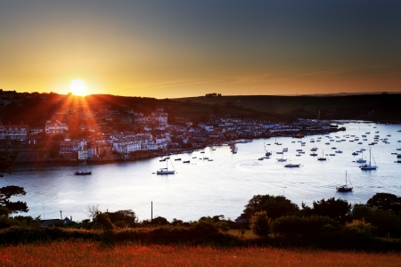 Salcombe ria (estuary) sunset in south Devon England UK photo