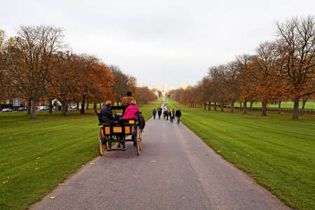 The long walk to Windsor Castle with horse drawn carridge