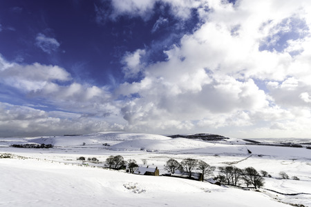 Snow Covered High Peak in the Peak District Derbyshire Stock Photo