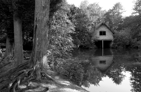 derbyshire: A boat house on a lake in Derbyshire