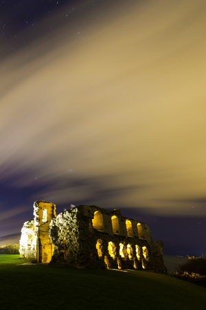 nightime: The Night Sky Over Sandsfoot Castle Dorset Stock Photo