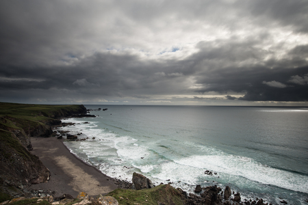 south west coast path: Coarnwall stormy skies on the South West Coast Path Stock Photo