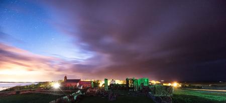 Lindisfarne Abby under the night sky Stock Photo