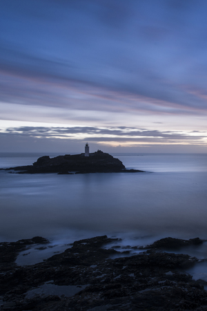 Godrevy Lighthouse Cornwall by Sunset