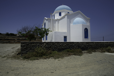 Greek Church  Cyclades Islands Stock Photo