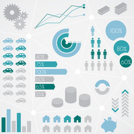 business graphics: Finance Statistical Info Graphic Set Illustration