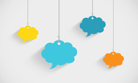 Speech Bubble Clouds Hanging On Strings Illustration
