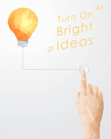 turning: Hand Pressing Button Turning On Light Bulb