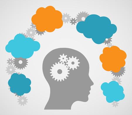 Head Ideas Cogs Illustration