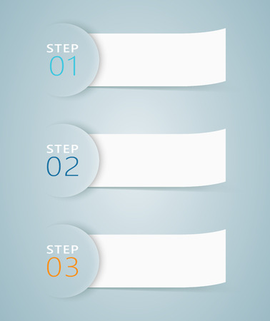 Infographic 3D Numbered Step Ribbons 3  イラスト・ベクター素材