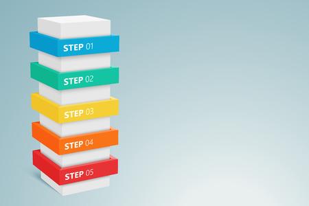 Columna infografía Con 5 Pasos 1