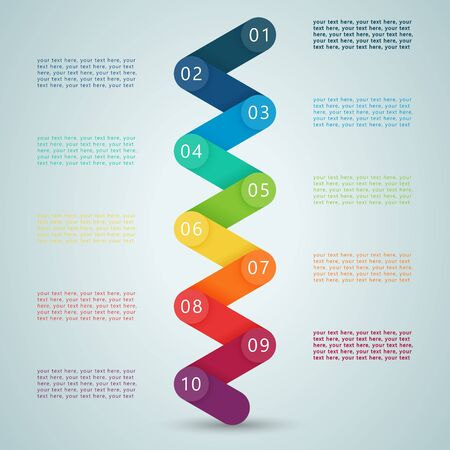 Nummer stappen 3d Infographic 1 tot 10 D