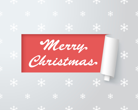 Merry Christmas Logo In Paper Cut Out Label 1