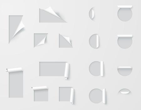 Paper Cut Out Labels Pealed Back Template Vektorové ilustrace
