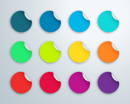 Circle Paper Sticker Note Set With Drop Shadows Vettoriali