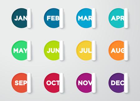 サークル紙カット ヶ月ノート カレンダー