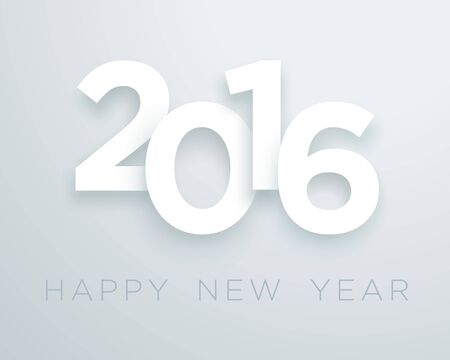 calendar page: 2016 Happy New Year White Vector With 3d Drop Shadow Design 2