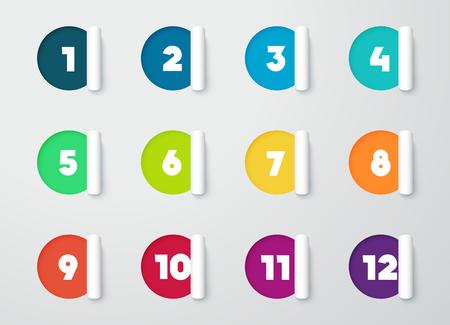 서클 종이 캘린더 1에서 12까지의 숫자가있는 노트를 잘라냅니다. 일러스트