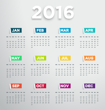 event planner: 2016 Calendar With Modern Days And Months In 3D Paper Cut Out Notes