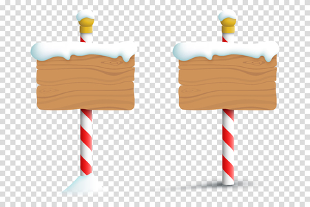 Christmas Winter Snow Blank Wooden  Signs On A Transparent Background