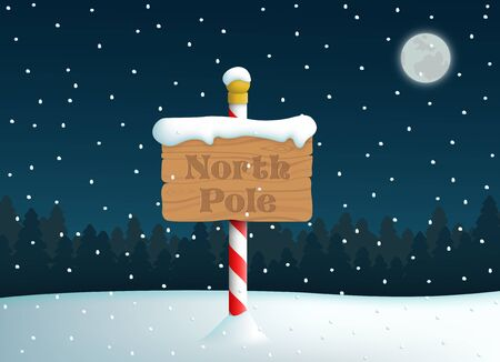 North Pole Wooden Sign With Snow Fall Background