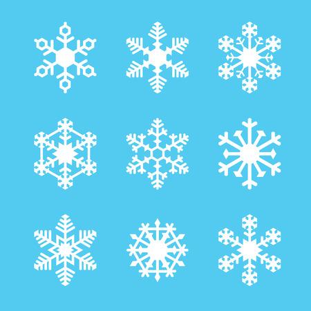 白い雪片 9 ベクトル セット 1
