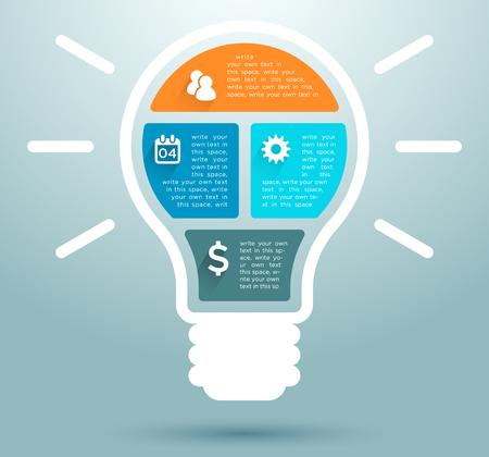 Infographic Business Flat Light Bulb Design 1 Vettoriali