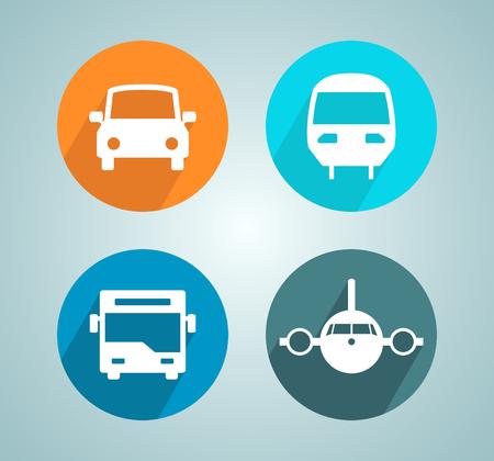 Transport Car Bus Plane Train Flat Modern Circle Icon Set