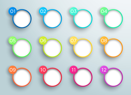 Steps 1 to 12 in 3d Bubbles Vector Infographic B