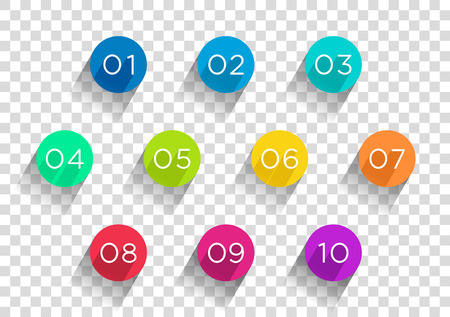 Number Bullet Points Flat Circles Transparent 1 to 10