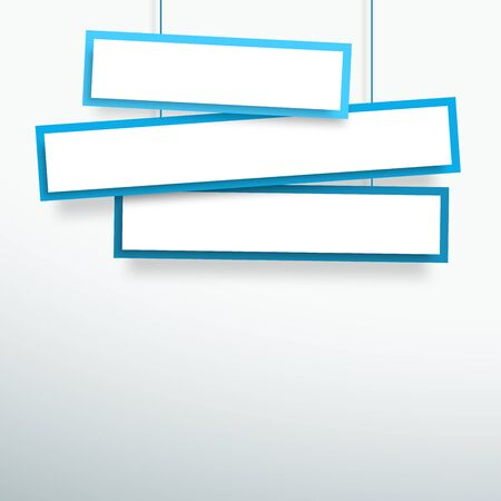 Vector 3d Blank Blue 3 Line Wonky Hanging Banners