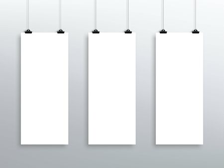3 Vector Hanging Blank White Long Sheets From Clips
