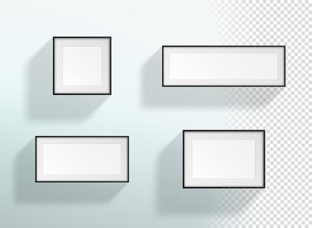 Vector Blank 3d Black & White Transparent Frames Set Illusztráció