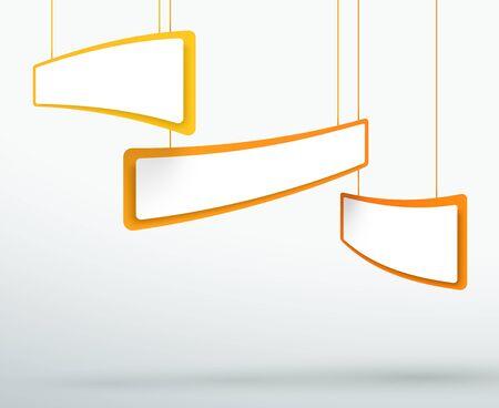 Abstract 3 Orange 3d Hanging Header Boxes Illusztráció