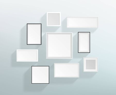Vector Blank White Realistic Frames On A Wall Design Çizim
