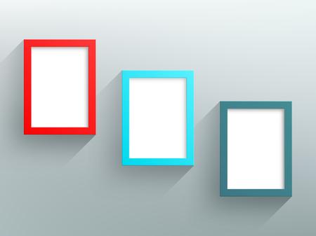Vector 3 Colorful Frames Design With White Background Illusztráció